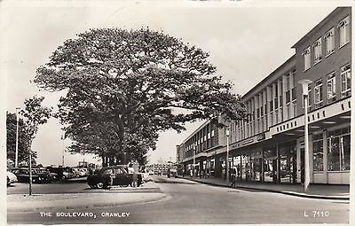 The Boulevard, Crawley, Sussex, Real photo, old postcard, posted 1960