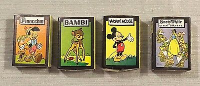(4) c1946 Walt Disney Character Cards Games Russell Mfg Co Mickey Snow White