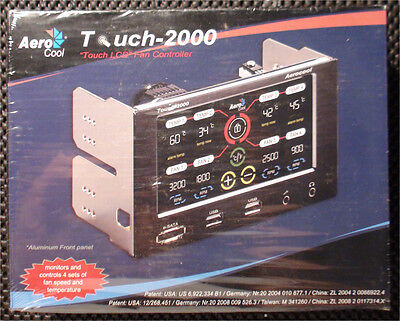 Aerocool Touch 2000 Fan Temperature Controller USB 2.0 eSATA Gaming PC New