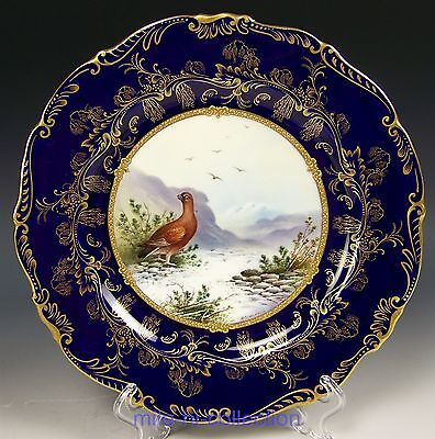 "Fabulous Coalport Hand Painted ""grouse"" & Gold Cabinet Plate Signed P. Simpson"