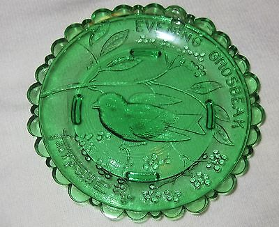 Vintage Sandwhich Glass Green Evening Grosbeak Pairpoint Plate