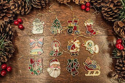 Set of 12 Stained Glass Style Retro / Vintage Christmas Tree Decorations