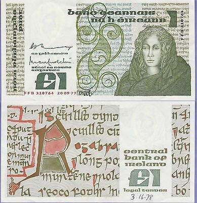 Ireland 1 Pound Banknote 20.9.1977 Choice Extra Fine Condition Cat#70-A-0764