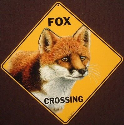 RED FOX CROSSING SIGN aluminum  foxes decor home novelty animals signs wildlife