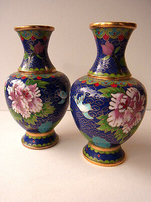 2 Cloisonne Vase Email Top Blumen Flower alt China Asiatica