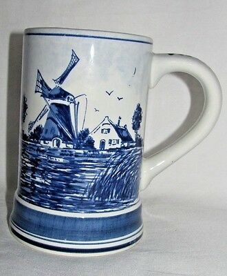 Delft Handpainted Blue Windmill Stein Mug Made in Holland Vintage