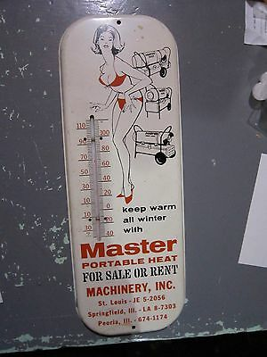 Vintage MASTER PORTABLE HEATERS MIDWEST advertising thermometer sign Rare Bikini