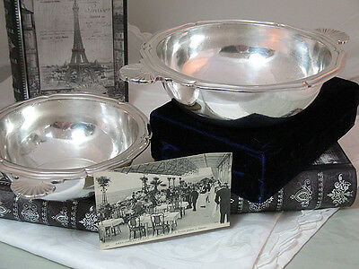 Christofle Hotel Silver Pair French Bowls * Pavillion Henri Iv Paris 1925 *