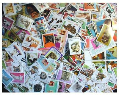Cats on Stamps Collection - 200 Different Stamps