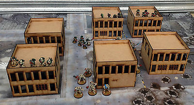 Wargames Scenery 6 Modern Buildings 40K 28mm Bolt Action Batman Terrain