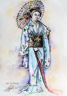 Geisha with Umbrella original woman watercolor painting portrait japan modern