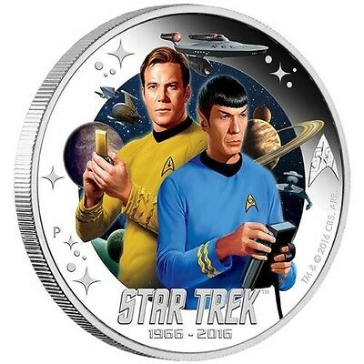 STAR TREK 50TH ANNIVERSARY 2016 – CAPTAIN KIRK AND SPOCK  1oz Silver  Coin