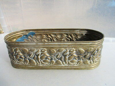 Vintage Brass Trough Tub Planter Plant Pot Raised Floral Flower Rose Retro Old