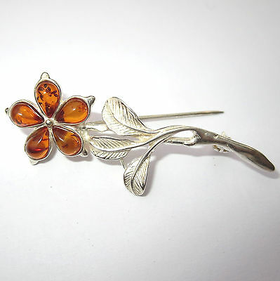 Natural Baltic Amber Flower Brooch Sterling Silver 925
