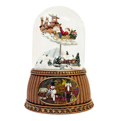 Santa & Sleigh Christmas Snow Globe (Musical & Moving)
