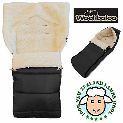 Woolibaloo Black 100% New Zealand Lambswool Pushchair Footmuff Cosytoes