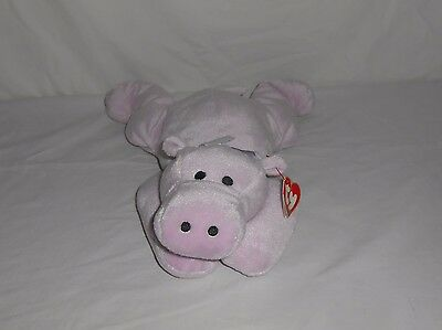 "Retired 1996 TY Plush Pillow Pals Lavender Hippo Hippopotamus ""Tubby"" with Tags"