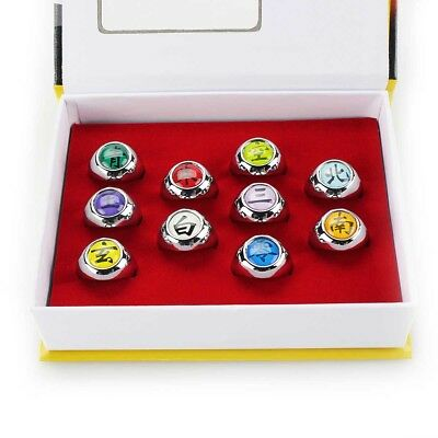 Cosplay Akatsuki Member's Ring Naruto Anime 10pcs New Set In Box Collections
