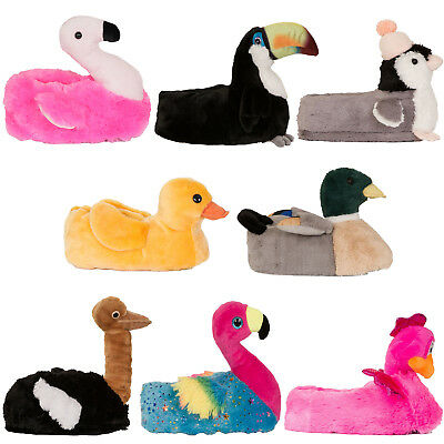 Loungeable Womens 3D Animal Slippers Teen Girl Plush Character Warm Indoor Shoes