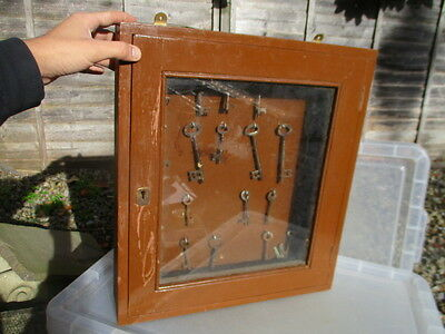 Vintage Wooden Glass Fronted Wooden Display Case Key Holder Rack keys Bulk Old