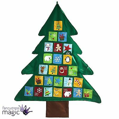 Felt Green Hanging Wall Christmas Tree Advent Calendar Countdown 94cm Decoration