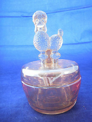 """Depression glass poodle dog lid covered container 6"""""""