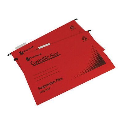 Rexel Crystalfile Flexi Foolscap Suspension File / Red / 50 Pack / 3000042