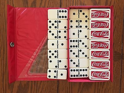 Coca Cola Collectible Double Six Domino Dominoes Red Case Nice!