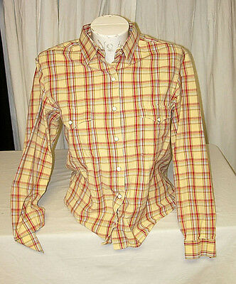 LADY COWGIRL RIDING SHIRT w/ METAL SNAPS - PLAID - SIZE SMALL - by ROUGH STOCK