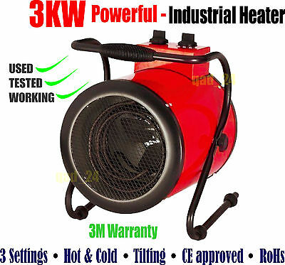 3Kw Industrial Fan Heater - Cylinder Red - Round Electric Workshop Garage Shed