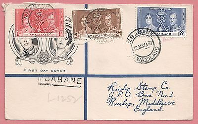 1937 Swaziland Kgvi Coronation Fdc Registered Cachet Cover To England 2