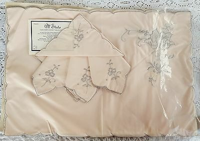 VTG 8 Pc All State Linen Hand Embroidered Placemat Napkin Set Blush Pink Unused