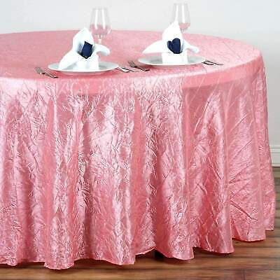 117 in. Taffeta Crinkle Round Seamless Tablecloth~Wedding~NEW