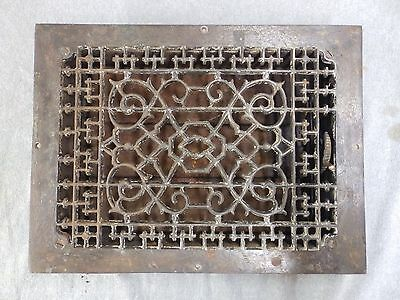 Antique Cast Iron Heat Grate Vent Register Old Vtg Decorative 10x13 1/2 1687-16