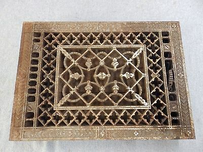 Antique Cast Iron Heat Grate Vent Register Old Victorian 8 x 11 3/4 1690-16