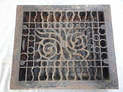 Antique Cast Iron Heat Grate Vent Register Old Victorian Floral 10x12 1691-16