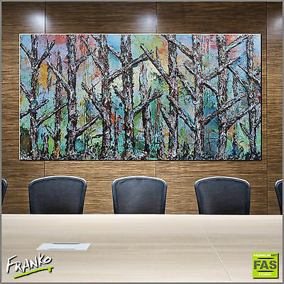 HUGE ABSTRACT REALISM ART TEXTURE PAINTING LANDSCAPE TREES 190cm x 100cm Franko