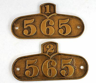 2 Large Antique Decorative Solid Cast Brass Number House Plates   Wp136