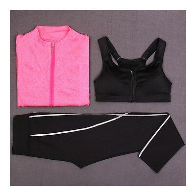 Breathable Woman Running Sports Fitness Yoga Clothes 3pcs Set   rose