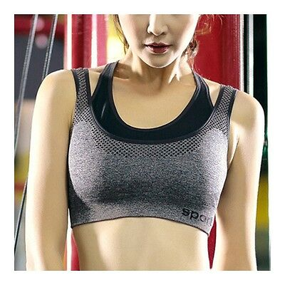 Breathable Letters Bra Shockproof Wireless Fitness Yoga Sports   grey