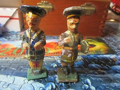 Two Hand Carved Vintage Antique German Band Members
