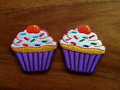 New Set 2pcs.Cream Purple Cupcake Iron On Patch Embroidered Applique