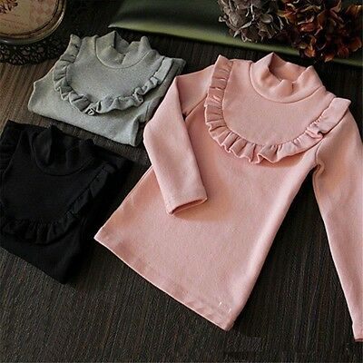 Toddler Kids Clothes Girl Turtleneck Warm Long Sleeve Casual T Shirt Blouse Tops
