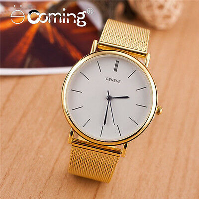 Luxury Mesh Stainless Steel Wristwatch Fashion Gold Watch Analog Quartz Watches
