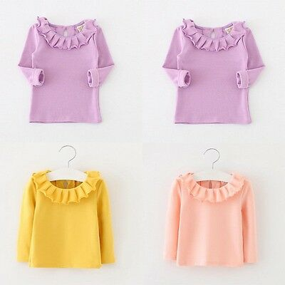 Kids Baby Girls Ruffles T-Shirt Cotton Tee Candy Color Long Sleeve Tops 1-4Y