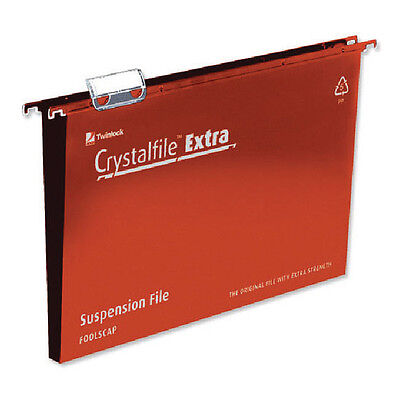 REXEL CRYSTALFILE EXTRA SUSPENSION FILE FOOLSCAP / 30mm / RED / 25 PK / 70632