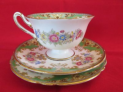 Shelley Sheraton Trio Cup Saucer Plate Green Excellent Condition Pattern 13290