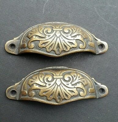 "2 Ornate Apothecary Cabinet Drawer Cup Pull Handles Victorian Style  4 1/8"" #A1"