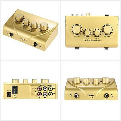NKR N-3 Karaoke Sound Mixer Dual Mic Inputs With Cable Gold S2P7