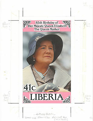 Liberia 1985 Queen Mother's 85th Birthday UNIQUE original stamp artwork